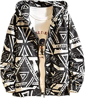 NIUQI Men's Autumn Casual Fashion Printing Patchwork Jacket Zipper Outwear Coat