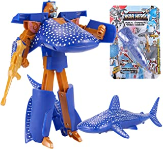 Clearance Sale!DEESEE(TM)??Children's Toy Transformer Robot Shark Ocean Anime Figurine Gift for Christmas (Dark Blue)
