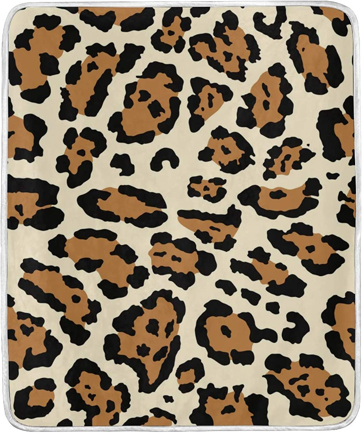 OPRINT Home Decor Leopard Brown Skin Bed Blanket Lightweight Comfy Soft Warm Blanket Throw Size 50 x 60 inches for Kids Boys Women Sofa Couch