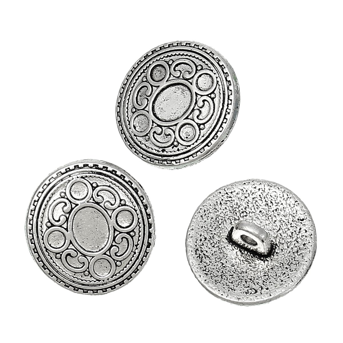 PEPPERLONELY Brand 10PC Antique Silver Shank Metal Button Round Single Hole Circle Pattern 17mm x 16.5mm