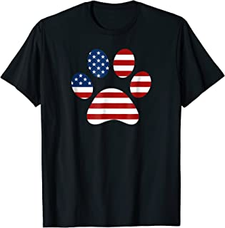 American Flag Dog Paw T-Shirt | 4th of July Gift Idea
