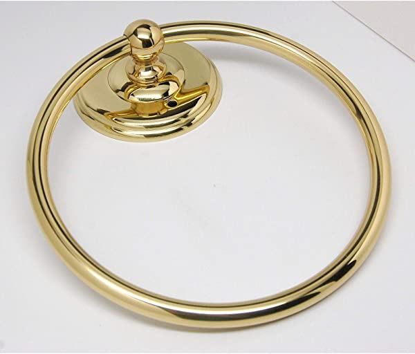 AMEROCK Polished Brass 6 Solid Brass Hanging Bathroom Towel Ring Hardware