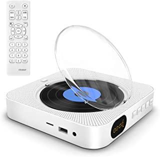 Portable CD Player with Bluetooth,Remote Control Wall Mountable CD Music Player with Built-in HiFi Speakers, with Dust Cov...