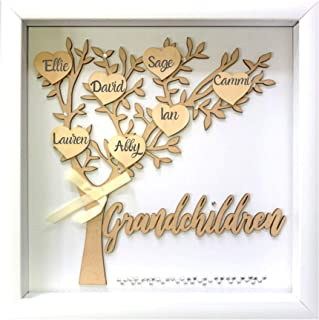 Tasse Verre 12x12 Grandchildren Shadow Box Kit - Family Tree Gift for Grandparents Grandma Grandpa with 7 Hearts and 40 Gems. Gift for Grandparents, Grandma, Grandpa, Nana, Mimi Mothers Day