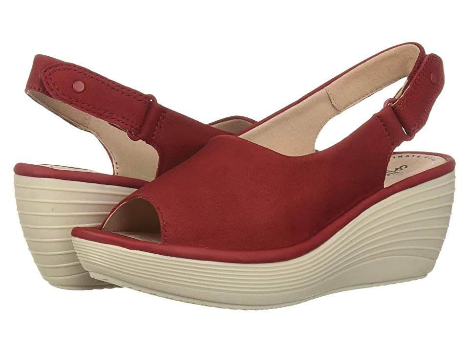 Vintage Sandal History: Retro 1920s to 1970s Sandals Clarks Reedly Shaina Red Nubuck Womens Wedge Shoes $95.00 AT vintagedancer.com