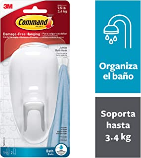 Command Bathroom Hook with Water-Resistant Strips, 1-Hook, 2-Strip, white - 17600B