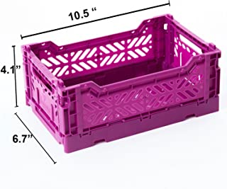 AYKASA Collapsible Storage Bin Container Basket Tote, Folding Basket Crate Container : Storage, Kitchen, Houseware Utility Basket Tote Crate Mini-Box (Purple)