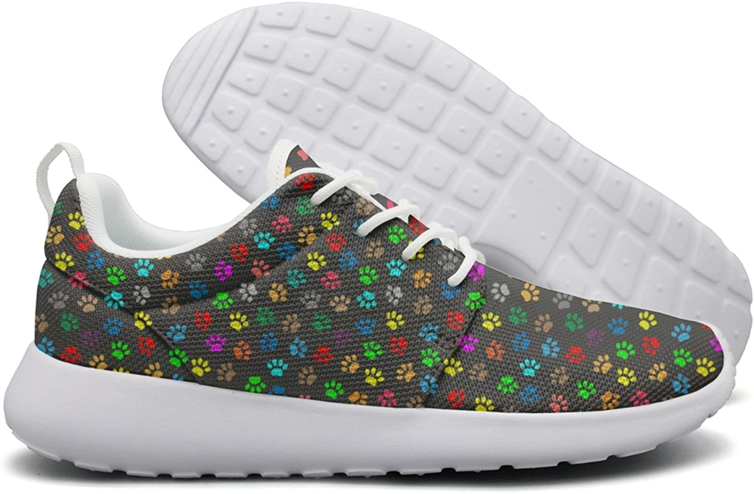 Hoohle Sports Colourful Cats Footprint Black Background Womens Roshe One Flex Mesh Casual shoes for Men