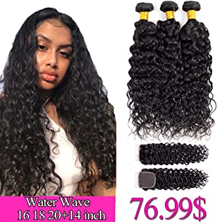 Brazilian Water Wave Bundles with Closure 16 18 20 +14 Lace Closure Free Part Water Wave 3 Bundles with Closure 1B# Water Curly Wave Human Hair Bundles and Closure