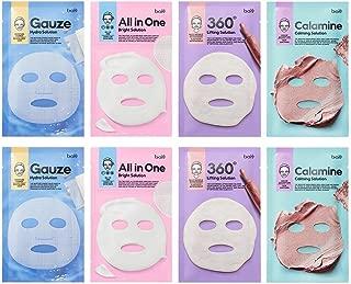 [BOTANIC HEAL BOH] Solution Mask Sheet Pack of 8 - 4 Type Facial Calming, Brightening, Hydrating, Lifting Skin Care Mask Sheet