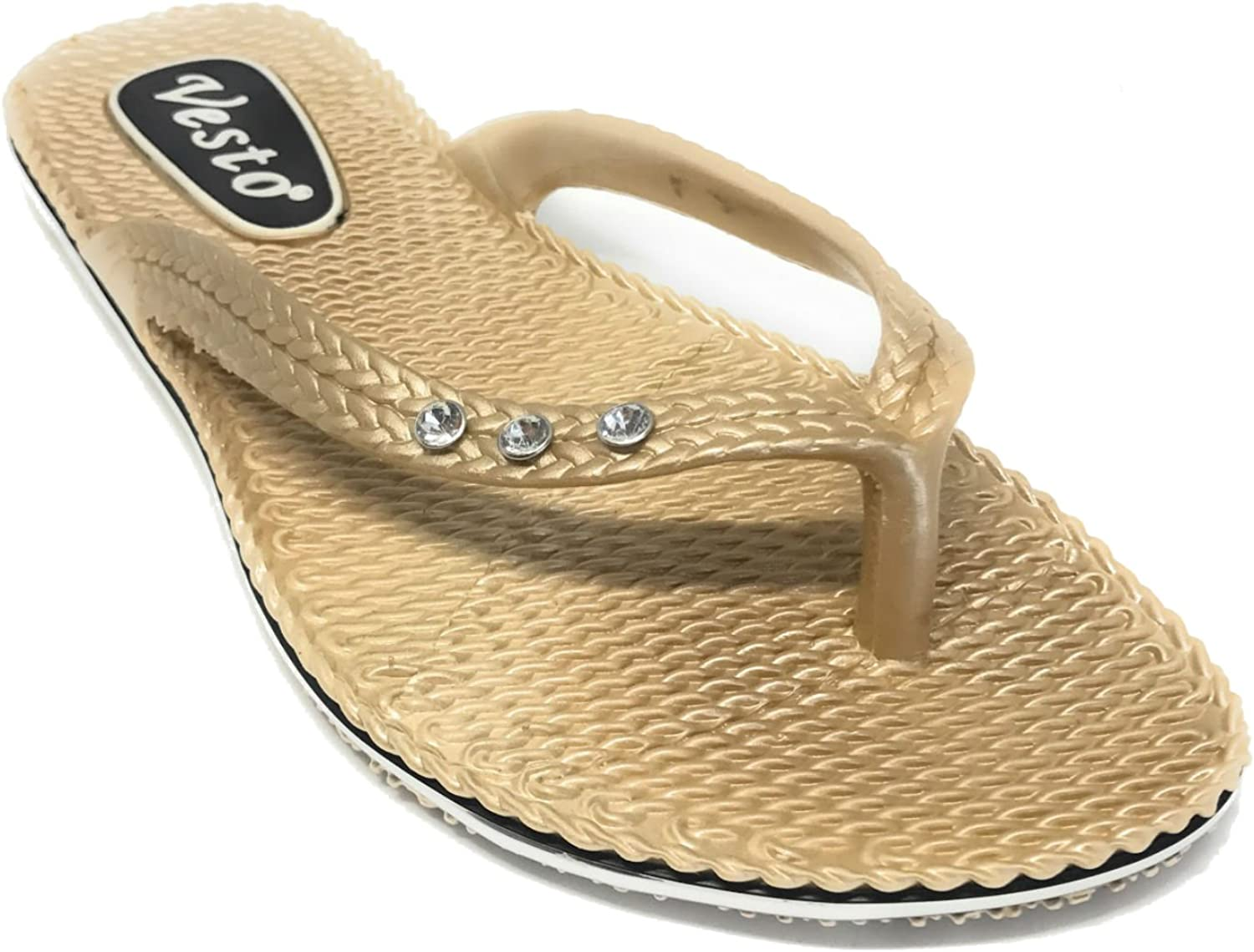 Vesto Ladies Metallic Comfort Flip Flop with Rhinestone