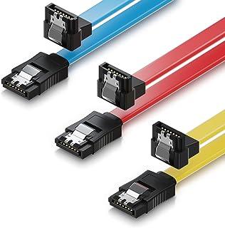 deleyCON 3X 50cm Cable SATA III Cable de Datos S-ATA 3 6 GBit/s Cable de Conexión para HDD SSD - Clip Metálico - 1x Recto ...