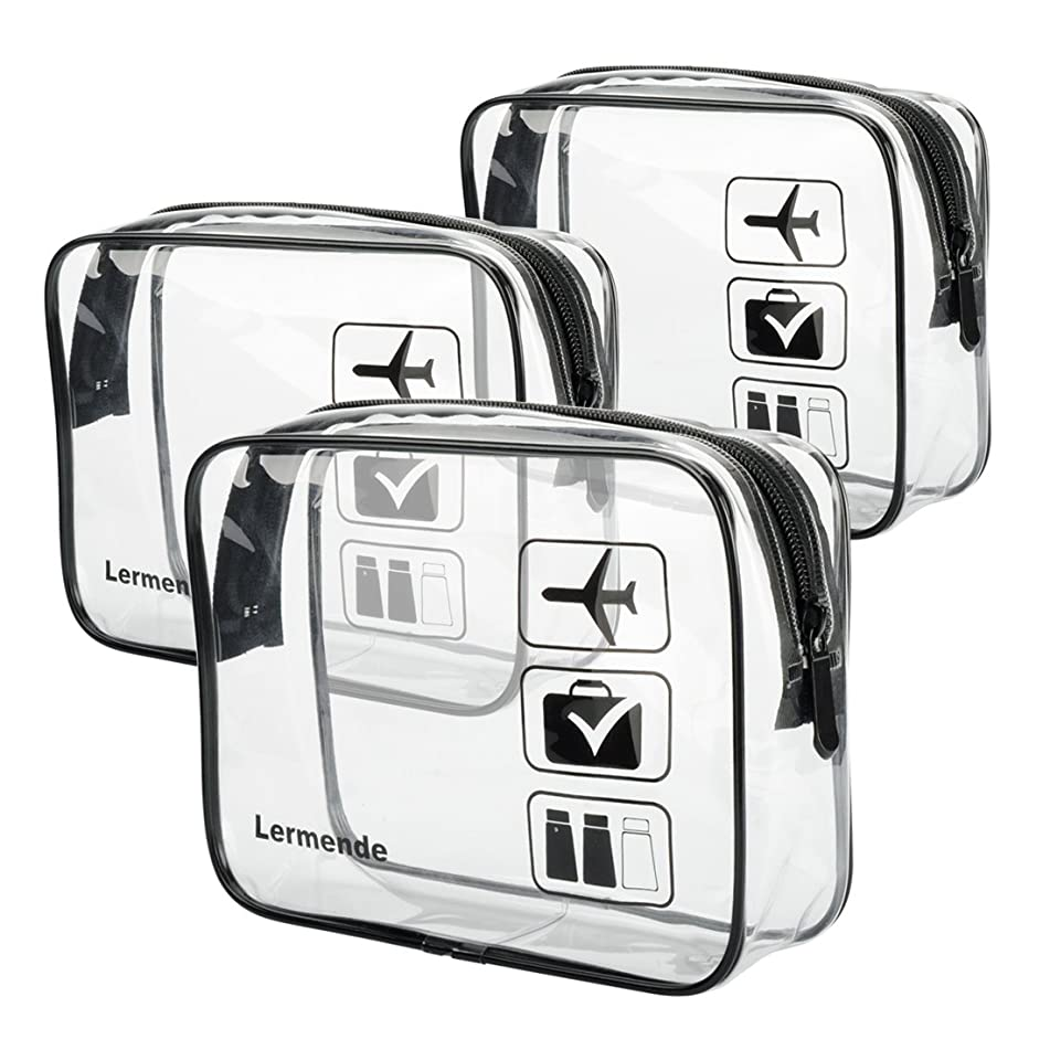 3pcs Lermende TSA Approved Toiletry Bag with Zipper Travel Luggage Pouch Carry On Clear Airport Airline Compliant Bag Travel Cosmetic Makeup Bags