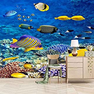 VITICP Adults Kids Wall Stickers Decals Peel and Stick Removable Wallpaper Ocean Coral Small Fish for Nursery Bedroom Livi...