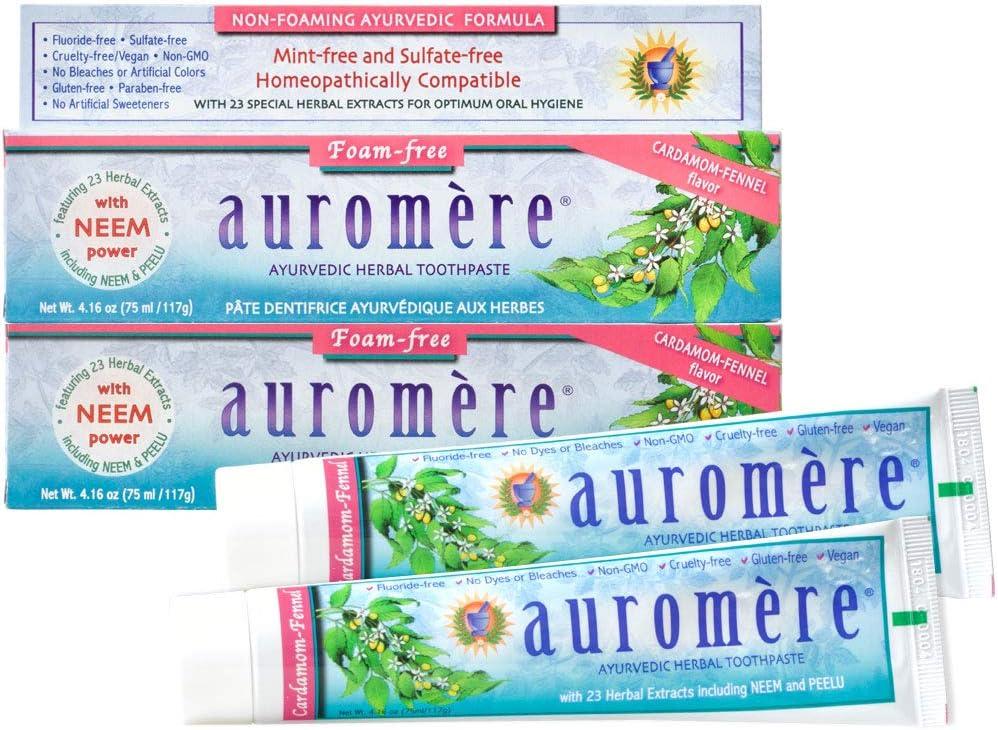 Ranking TOP7 Auromere Ayurvedic Herbal Toothpaste Fennel Free Foam Cardamom Detroit Mall