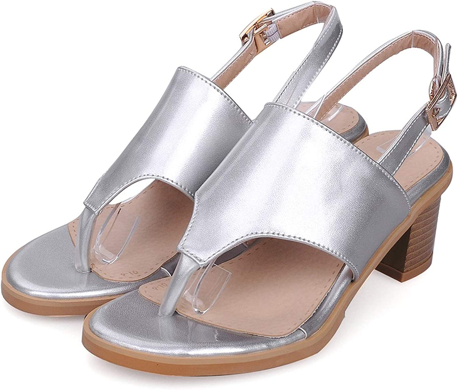 Plus Size 33-43 Summer Women Sandals med Heels Open Toe pu Leather Buckle Solid color Casual shoes