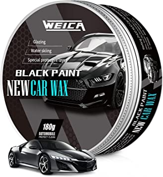 WEICA Car Wax Black Solid for Black Cars, Carnauba Car Wax Kit Cleaner, Car Waxing Scratch Resistance Auto Ceramics Coating 180g with Free Waxing Sponge and Towel-Black (New Upgrade): image