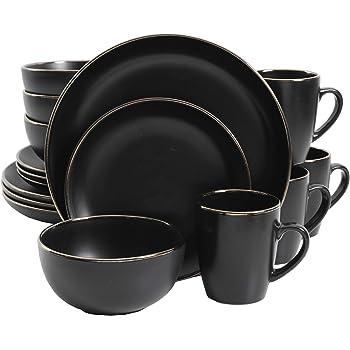 Gibson Home Rockaway Round Stoneware Dinnerware Set, Service for 4 (16pcs), Black/Gold Rim