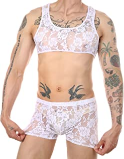 Agoky Mens Sissy Lace Lingerie Crop Tops and Panty Sets Transparent Underwear 2 Piece Nightwear