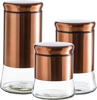 Set of 3 Glass Canisters with Bronze Stainless Steel Cover and Lids,28/38/50 Ounce