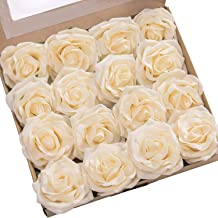 Ling's moment Rose Artificial Flowers 16pcs Realistic Cream Avalanche Roses with Stem for DIY Wedding Bouquets Centerpieces Floral Arrangements Decorations