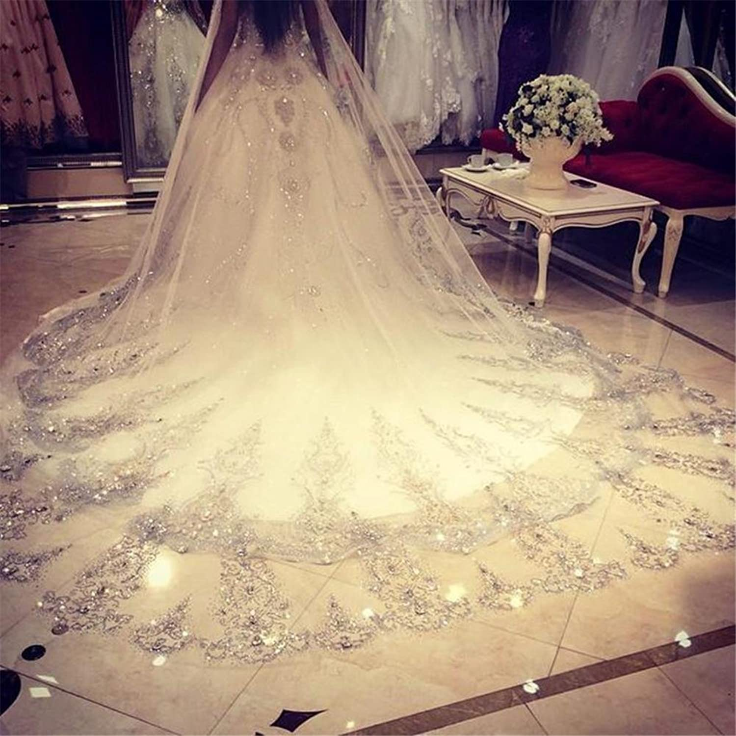 Bridal Veils with Comb 3.5M Long Lace Edge Wedding Bride Veil Real Picture Flower Cathedral