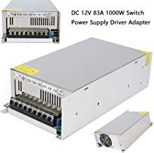 Xunba 12V 83.3A 1000W Universal Regulated Power Supply Driver for CCTV Camera LED Strip AC 100-140V Input to DC 12V with Temperature controled Fan (TT1000-12)