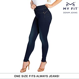 'My Fit Jeans- Size 2-12 Dark WASH: Women's Stretch Denim Jeans with Pockets and The Comfort of Leggings, Petite Through Plus Size