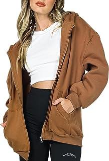 Tophoopp Hoodies for Women, Women's Oversized Zip Up Hoodie Y2K Jacket Plain Baggy Loose Vintage Hooded Sweatshirt Coat