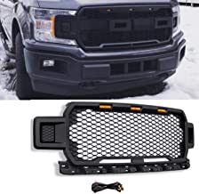 Modifying Replacement Upper Grille ABS Front Mesh Grill Fit for 18-19 Ford F150 with Three Amber LED Lights (Black)