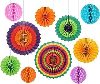 GoFriend - Paquete de 10 Coloridos abanicos y panales de Papel para Colgar y Usar en la decoración de cumpleaños, Bodas, Baby Showers, carnavales, Fiestas en el hogar Colour-1