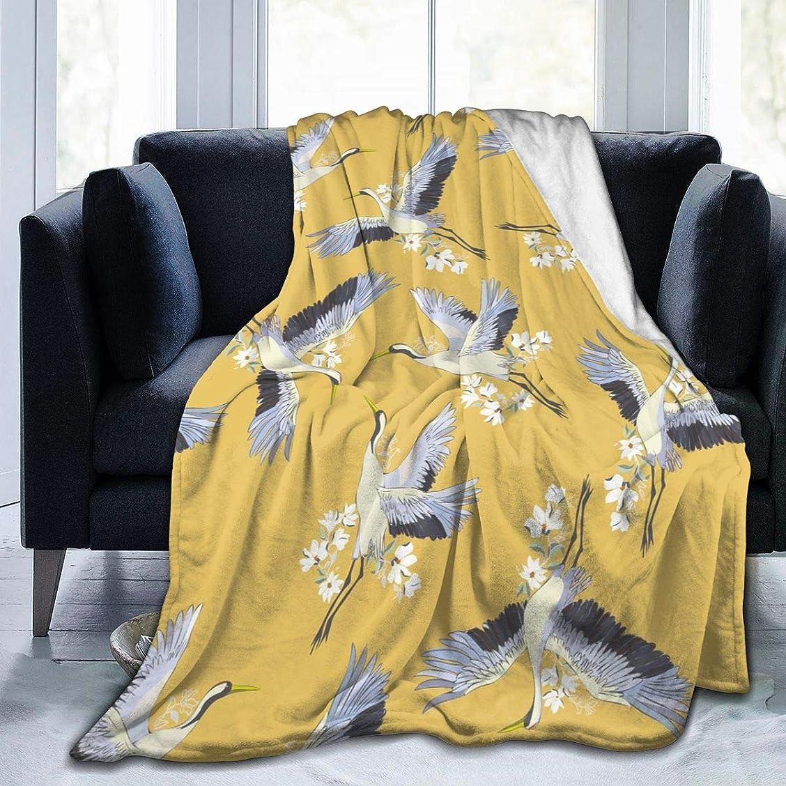 サンダース解放プロトタイプ鶴と花 飛ぶ 毛布 掛け毛布 ブランケット シングル 暖かい柔らかい ふわふわ フランネル 毛布 三つのサイズ