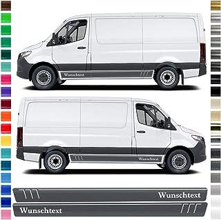 Auto Dress® Seiten Streifen Aufkleber Set/Dekor passend für Mercedes Sprinter in Wunschfarbe mit Wunschtext (Farbwunsch)