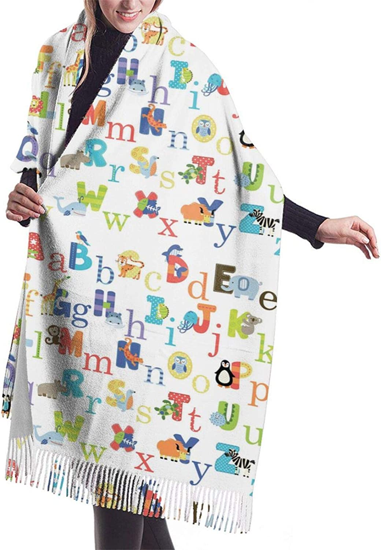Womens Soft Cashmere Scarf,Alphabet Shawl Scarf,Premium Large Pashmina,Warm Wrap Cape Solid Shawl Elegant Wrap