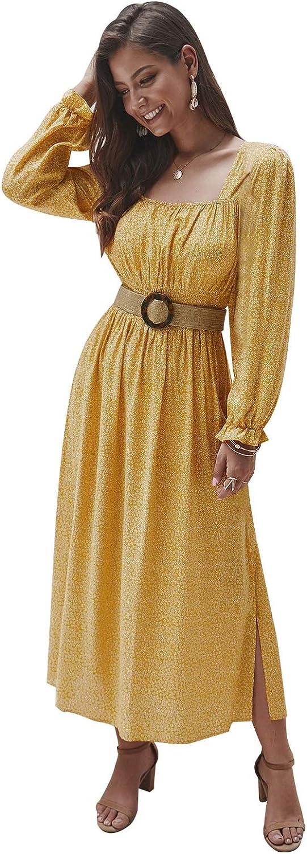 KANCY KOLE Women's SmockedFloral PrintedLong Dress Square NecklineLong Sleeve Ruffle Boho Dress with Side Split S-XXL