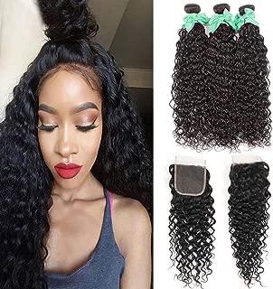 Water Wave Human Hair 3 Bundles With Closure Ocean Wave Wet and Wavy Weave Bundles Unprocessed Virgin Deep Wave Closure Free Part Natural Color (22 24 26+20closure)
