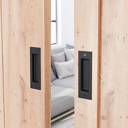 SMARTSTANDARD 2 Pack Flush Pull 6-1/2inch Matte Black Frosted Handle for Sliding Barn Door Hardware Finger Pull
