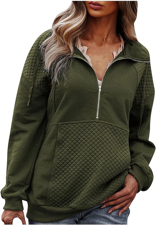 Womens Crewneck Sweatshirt Women Vintage Turn Down Collar Zipper Drawstring Hoodie, Plus Size Pullover for Girl
