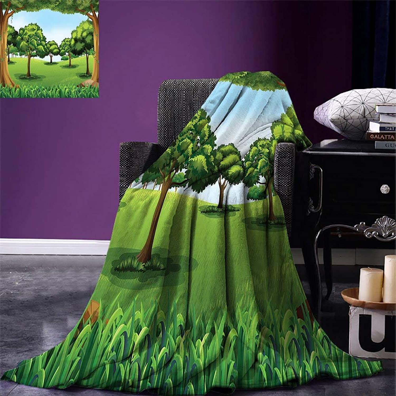 LONSANT Forest Throw Blanket A Clear Day in The Woods Theme Cartoon Drawing Style Idyllic Summer Velvet Plush Throw Blanket Green Pale bluee Caramel,Fashion Blanket
