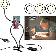 Clip on Reading Light,360 ° Flexible Gooseneck Bed Night Light,LED USB Clip Desk Lamp with Cell Phone Holder Stand 3 Color...