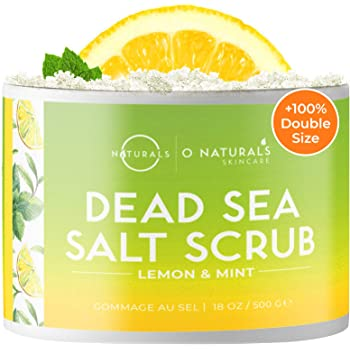 O Naturals Exfoliating Lemon Oil Dead Sea Salt Deep-Cleansing Face & Body Scrub. Anti-Cellulite Tones Helps Oily Skin, Acne, Ingrown Hairs & Dead Skin Remover. Essential Oils, Sweet Almond 18oz