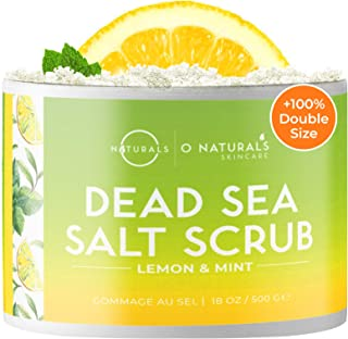 O Naturals Exfoliating Lemon Oil Dead Sea Salt Deep-Cleansing Face & Body Scrub. Anti-Cellulite Tones Treats Oily Skin, Acne, Ingrown Hairs & Dead Skin Remover. Essential Oils, Sweet Almond 18oz