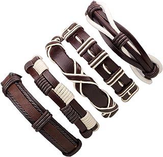 Bracciali braccialetto Gioielli,Vintage Casual Leather Bracelets Charm Black Multilayer Braid Wrap Bracelets Bangles Punk ...
