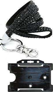 Customcard LPB Cordon tour de cou avec porte-cartes et strass Noir