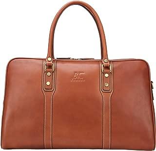 Banuce Brown Vintage Genuine Leather Travel Duffels Bag for Men Handbags Business Tote 1-3 Days Overnight Weekend Shoulder Messenger Bag