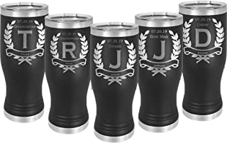 Groomsman Pilsner 20 ounce Tumbler Stainless Steel Custom Engraved with a Clear Lid including Choice of Color, Design, Name, Title, Date, Straw, Thank You Message and Spill Proof Lid