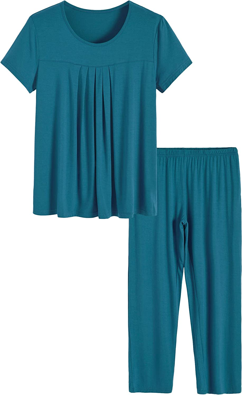 Latuza Women's Pleated まとめ買い特価 Shirt Pants Pajamas Set and オンライン限定商品