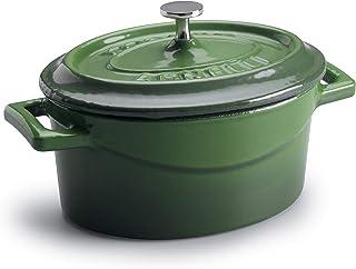 Ollas Agnelli cocción Lenta Oval Cazuela con Dos Asas, de Hierro Fundido, Verde, 0.4 litros