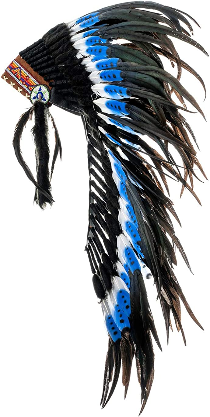Novum Crafts Feather Headdress Native American Indian Inspired Choose Color