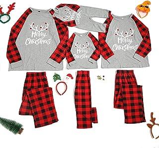 QNONAQ Navidad A Juego Pijamas Familia de Navidad Pijamas Prendas de Navidad Traje Padres e Hijos la Ropa de Noche de Inicio Nueva Cabrito del bebé del papá de la Mama Mismo Vestido Familiares